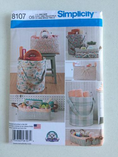 Simplicity Sewing Pattern 8107 Fabric Organizers Bins Baskets