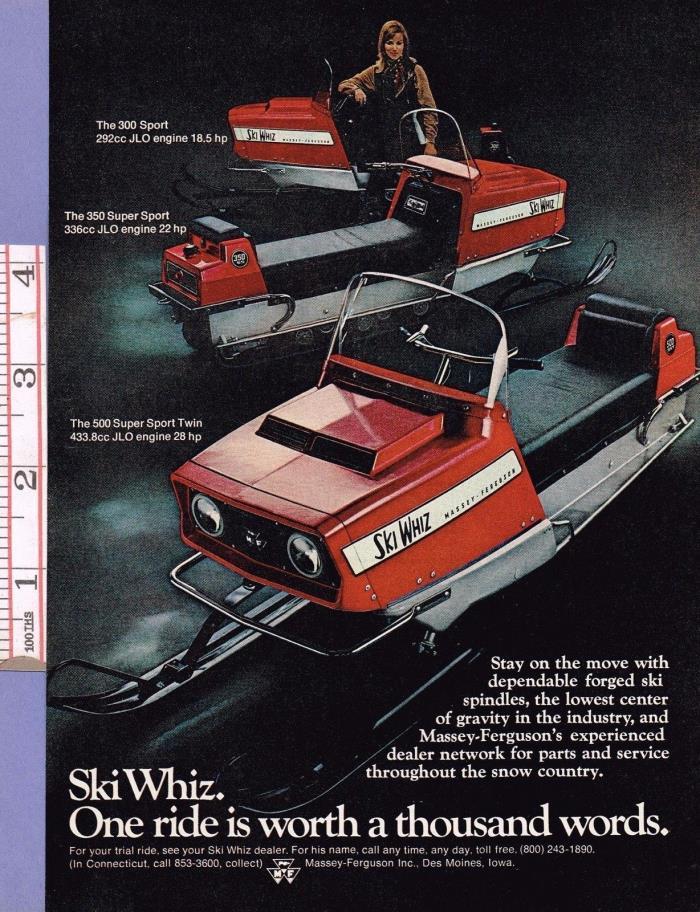 Vintage 1969 SKI WHIZ MASSEY-FERGUSON SNOWMOBILES ADVERTISEMENT, 8