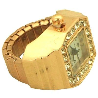 Ring Women's Rhinestones Stretch Bracelet Watch rose gold tone style 8 - 8