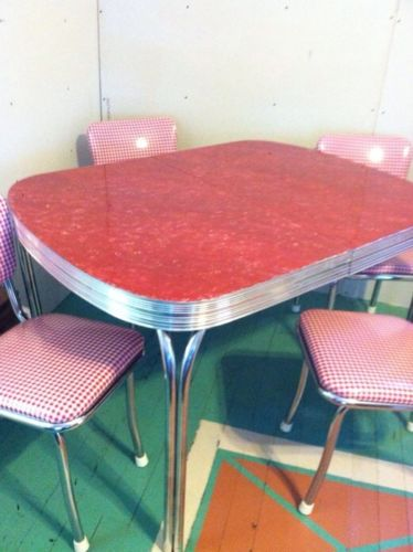 Vintage Chrome Table And Chairs Red & White Check Chairs Red Table Top