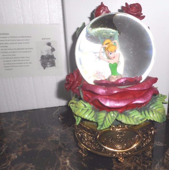 NIB Rare Disney Moods Of Tinker Bell Snow Globe Rose Music Box w/box
