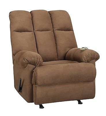 Padded Comfort Dual Living Massage Rocker Recliner with Lever Release, Chocolate