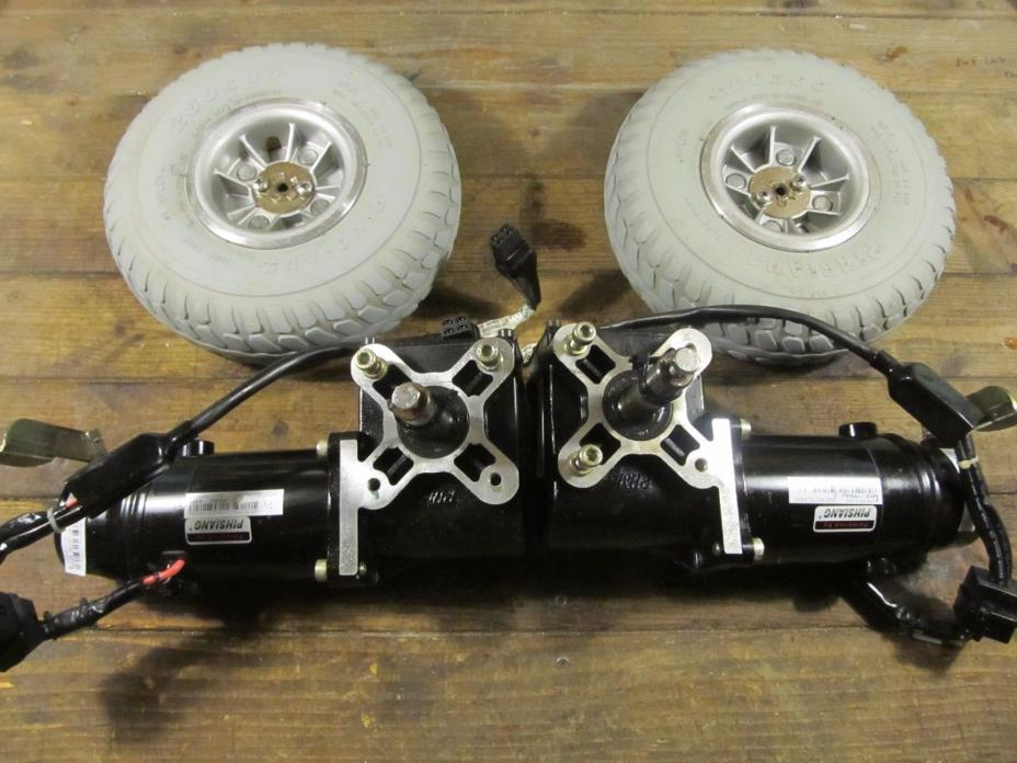 Two 24VDC Shoprider Electric Wheelchair motors & tirers, Pihsiang P/N M4-7MNW-2