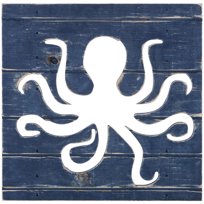 Blue Octopus Cut-Out Wood Sign Home Decor - Nautical Decor - Beach Cottage Decor