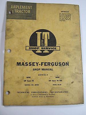 MASSEY FERGUSON MF85 SUPER 90 MF88 WR SHOP MANUAL I&T