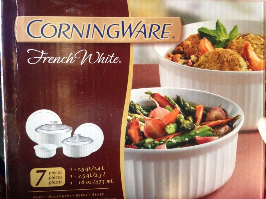 CorningWare French White 7-Piece Bake Serve Store Dish Casserole Set
