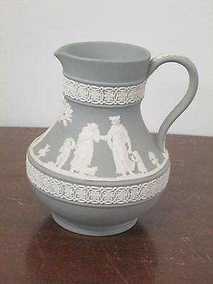 Jasperware by Wedgwood 1-green Etruscan pitcher etched made England mid 20C