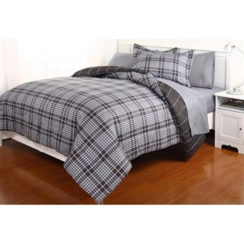 Full sz. Black Grey Plaids Reversible Comforter Bed in a Bag with Sheets New