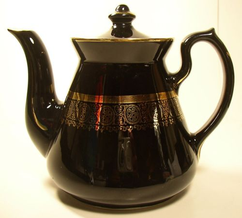 Signed Hall BLACK & GOLD Teapot