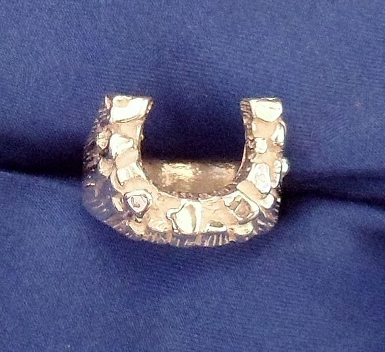 MENS  STERLING SILVER NUGGET HORSESHOE  RING #123516