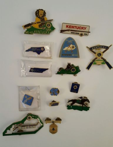 Vintage Lions  Club Hat Pins Lot Of 14 Kentucky Collectibles
