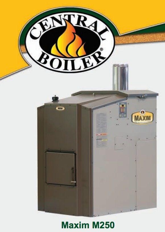 Central Boiler Maxim Pellet M250 Outdoor Wood Pellet Furnace w/ attached hopper
