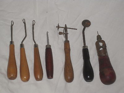 7  sewing tools hook latch sew hooks rare antique double pattern tracer ? + awl?