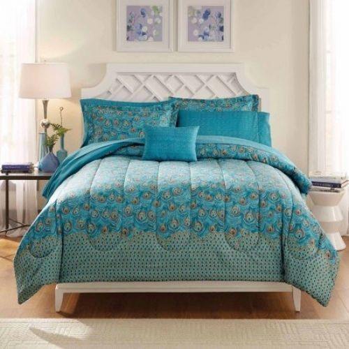Mainstays Bed in a Bag Bedding Comforter Set, Peacock Feather