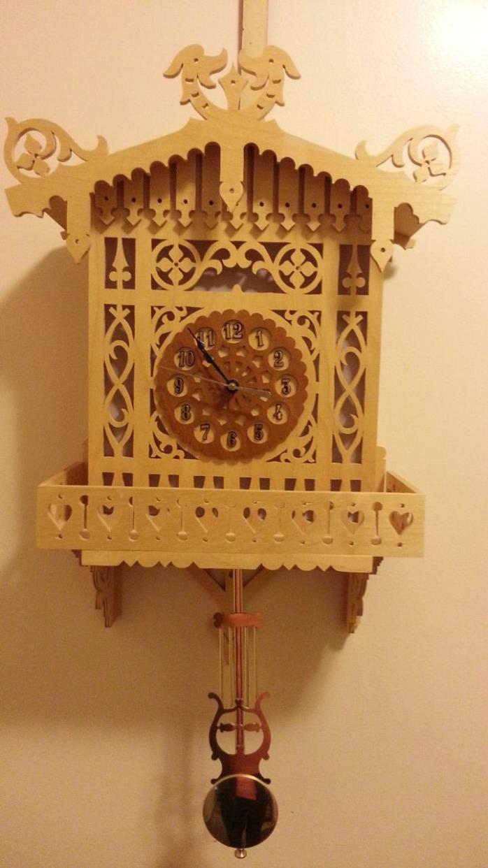 ONE-OF-A-KIND - UNIQUE HAND MADE - LASER CUT Wall Mounted Clock with Pendulum
