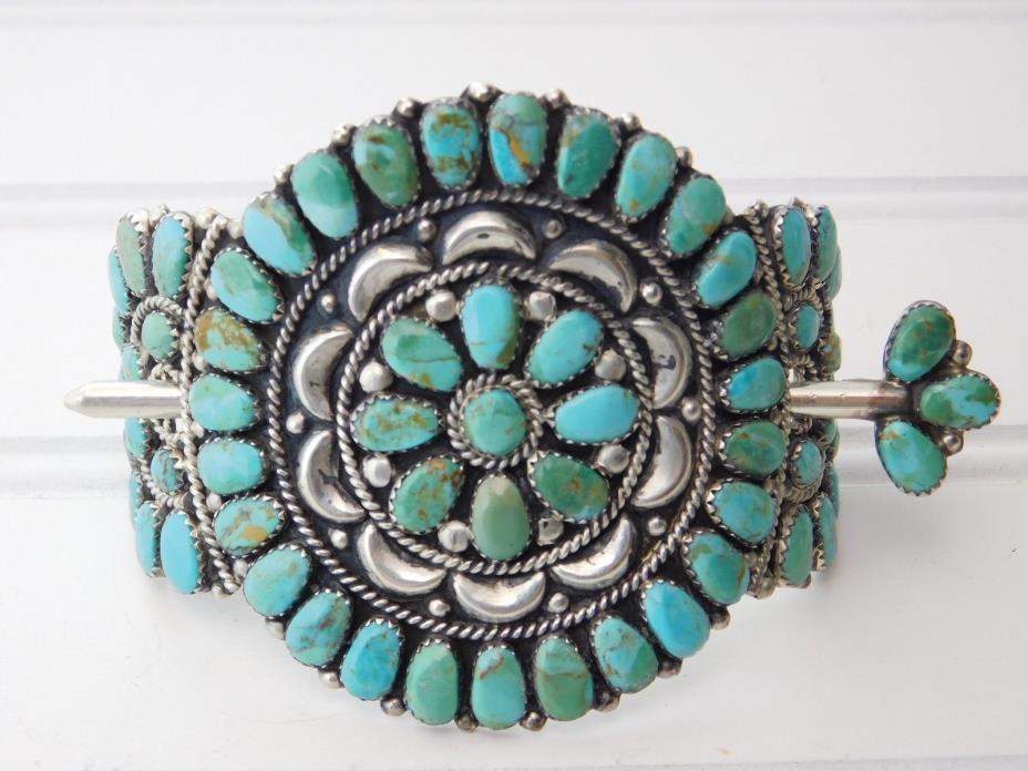 Vintage NAVAJO Sterling Silver Cluster Turquoise Hair Barrette Pin Holder