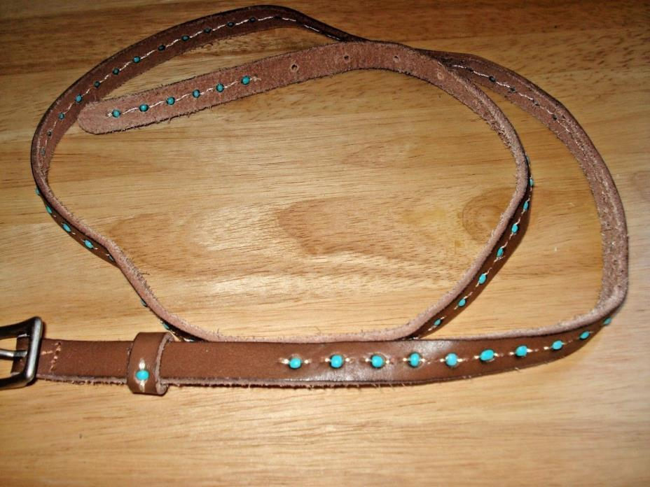 Turquoise Beaded (NEW) Womens Skinny Belt Size 40 Brown/Turquoise Leather