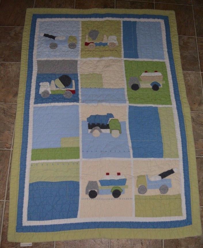Pottery Barn Kids Christopher Construction Trucks Crib Toddler Quilt Blanket