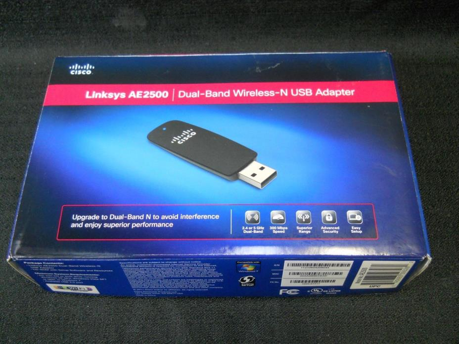 Linksys AE2500 High Performance Dual-Band Wireless N USB Adapter-- NEW Open Box