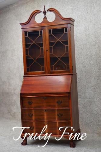 Governor Winthrop Secretary Antique Mahogany Desk Bookcase Curio Cabinet