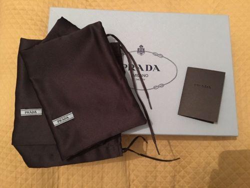 Prada Blue Empty Shoe Box & 2 Logo Dust Bags Storage Display Flawless