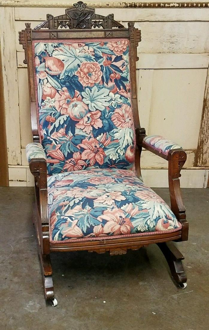 Antique Walnut Eastlake Victorian Platform Rocking Chair - Platform Rocker