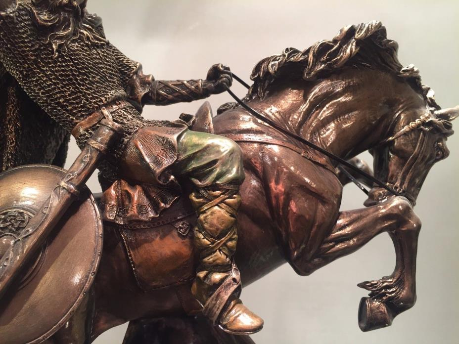 Viking Male Warrior on Horse Bronze Statue NEW $180