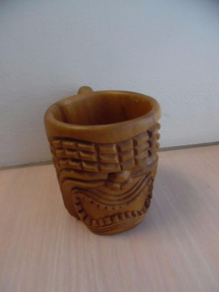 Vintage Wood Honolulu Hawaii Tiki Mug Cup Carved Monkey Pod Wood Souvenir