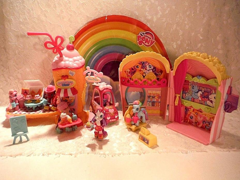 My Little Pony Ponyville Pop Corn Theater & Ice Cream Shake Diner w/accessories!