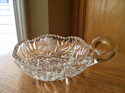 Pressed Glass Nappy with Etched flower Design Sawtooth (CG130)