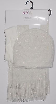 WOMEN'S NYA 3 PIECE KNIT SET GORGEOUS WHITE SHIMMER HAT, GLOVES & SCARF NWT