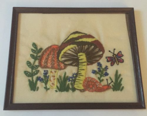 Vtg Mushrooms Snail Butterfly Finished Crewel Embroidery Framed Nature Art