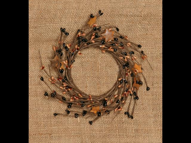 Primitive Pip Berry Wreath Candle Ring Tan & Black Rusty Stars Home Decor 7.75
