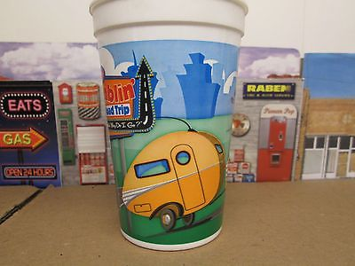 Plastic tumbler cup Ramblin Road Trip vintage teardrop travel trailer Psalm 25:4