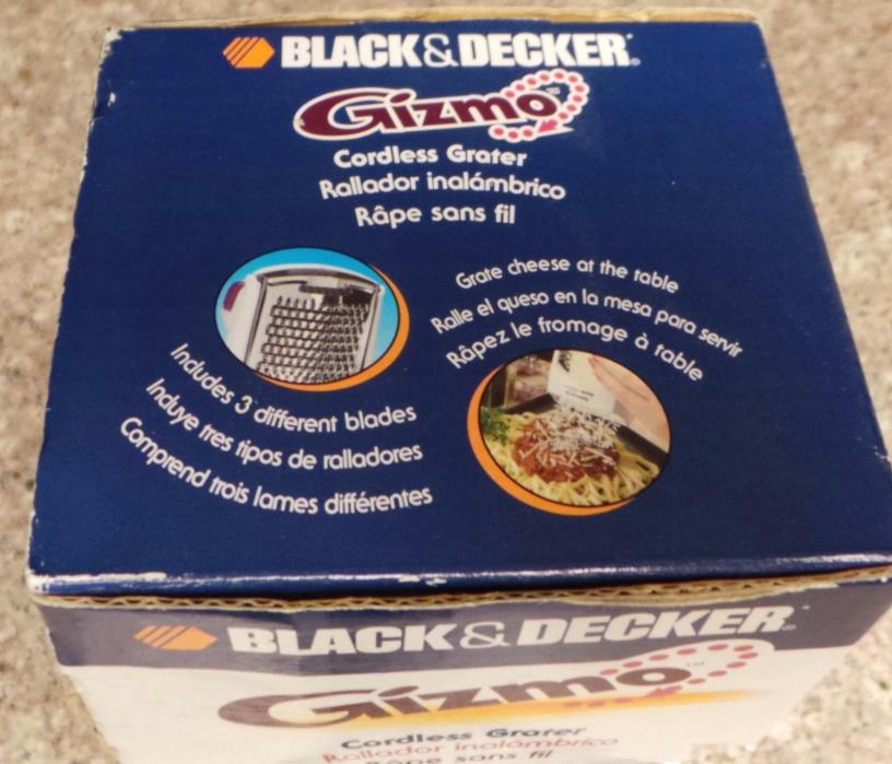 Black & Decker Gizmo Cordless Grater-Shredder 3 Blades Charger NIB GG200 NEW