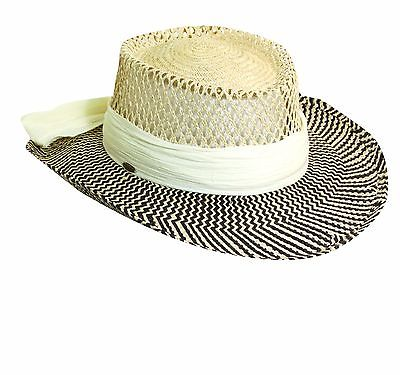 SCALA PRO PALM FIBER CRINKLE CLOTH LADY BREEZER GAMBLER GOLF SUN HAT BLK/IVORY