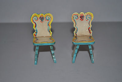 Vintage Dollhouse Wooden Yellow Blue Miniature Two Chairs Furniture