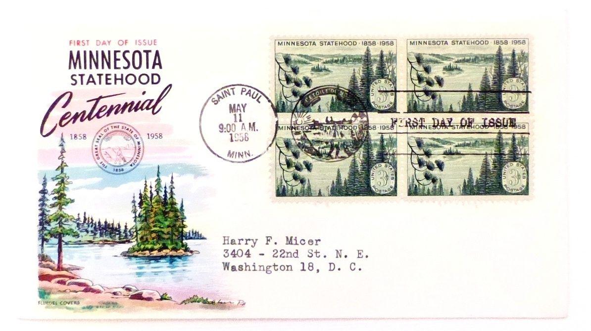 US FDC - 1106 - Centennial of Minnesota Statehood - block of 4 - Fluegel  - VF