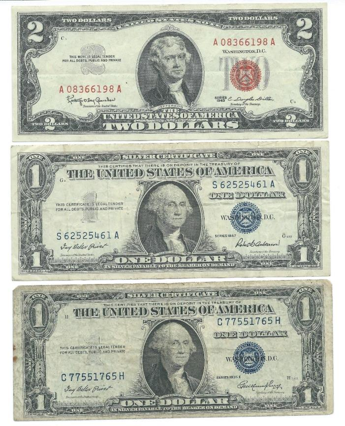 1963 $2 Red Seal & 1935 and 1957 $1 Silver Certificates all 3 notes free ship
