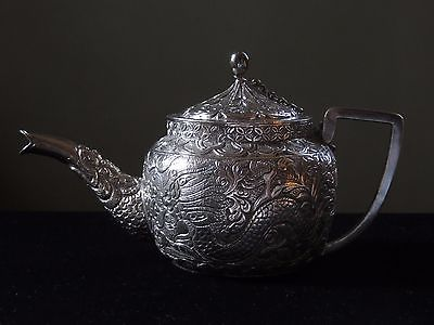Antique Chinese White Brass Teapot
