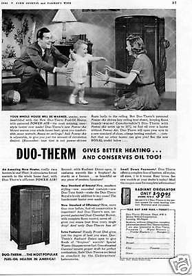 1941 Duo-Therm 575-2 Radiant Circulator Oil Heater Print Ad