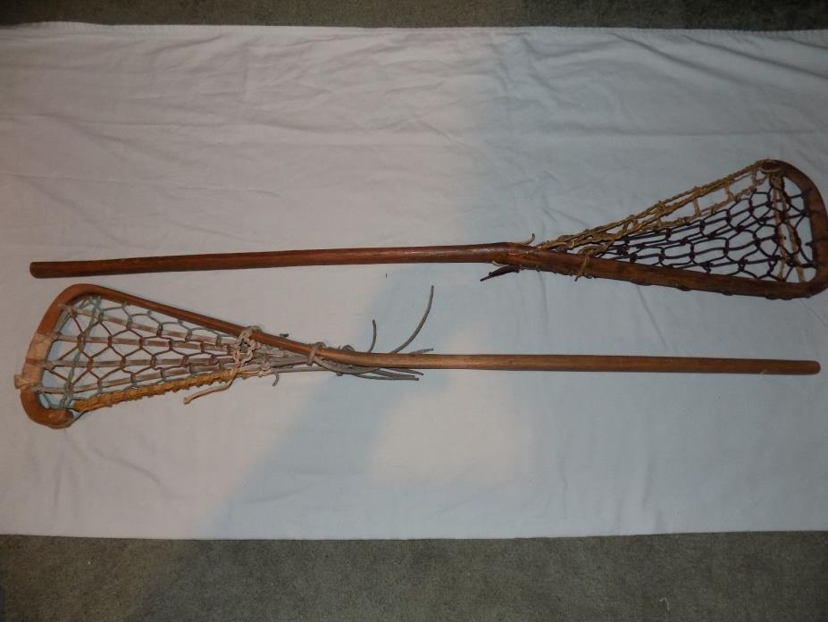 Lot of 2 Rare / Vintage / Antique wooden & leather rawhide Lacrosse sticks