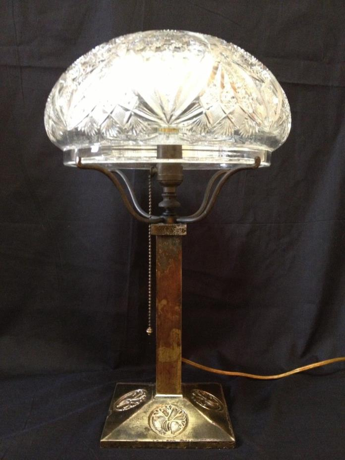 Art Nouveau Bradley & Hubbard Lamp Pitkin & Brooks ABP Crystal Shade 1 OF A KIND