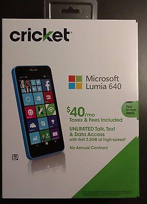 BRAND NEW Microsoft Lumia 640 8GB Cricket Wireless (Cyan)  (No-Contract)