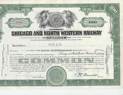 GREEN CHICAGO & NORTH WESTERN RAILWAY STOCK CERTIFICATE RAILROAD 1955