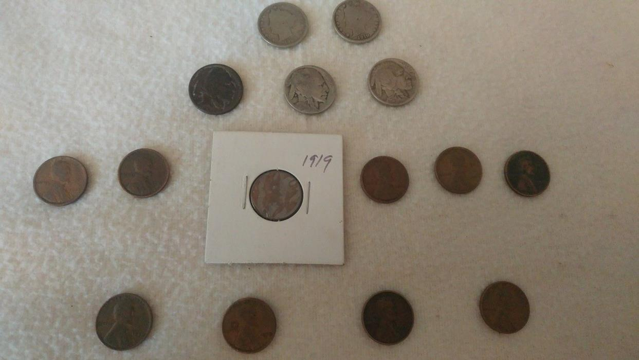 liberty dimes, buffalo head nickels, wheat pennies 1909 to 1929