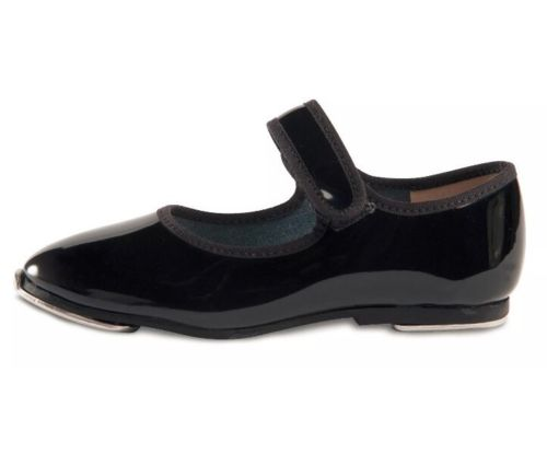 Danshuz #530 Mary Jane Style Tap Dance Shoe Velcro Strap, Toddler, Black Patent