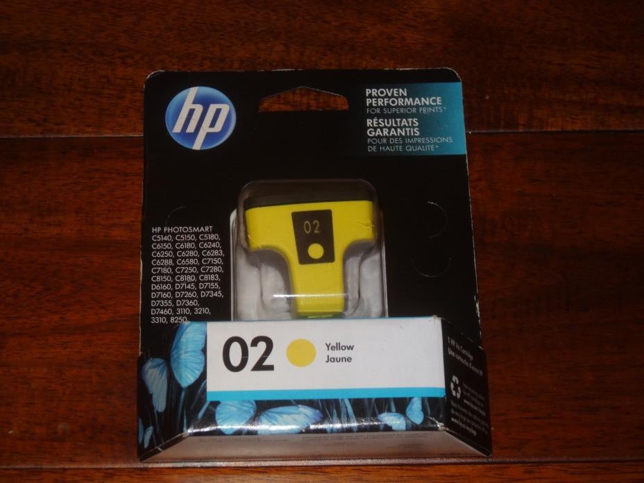 HP 02 YELLOW PRINTER INK cartridge Genuine EXP 10/17 C8732WN NEW