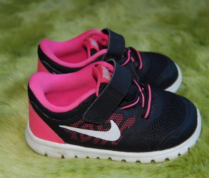 Nike Girls Black Pink White Toddler Shoes size 6