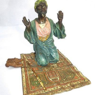 Franz Bergman Vienna Bronze  Arab Praying On Red Carpet